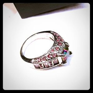 Jewelry - Rainbow topaz silver plated ring size 8 womens